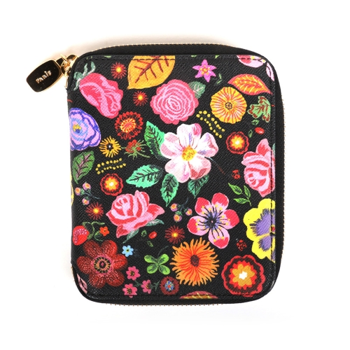 NATHALIE LETE MEDIUM WALLET FLOWER BLACK
