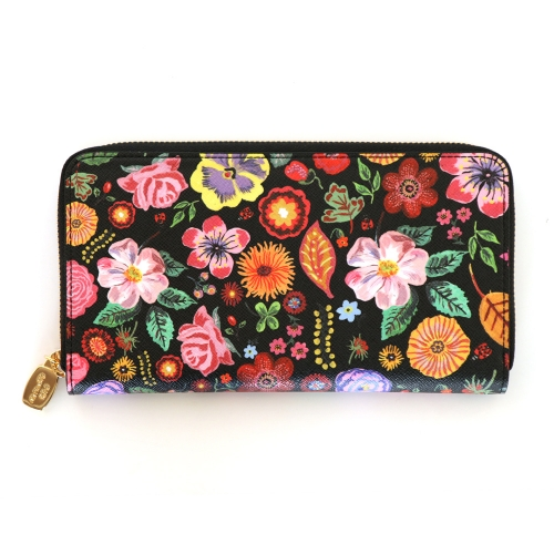 NATHALIE LETE BREAST WALLET FLOWER BLACK